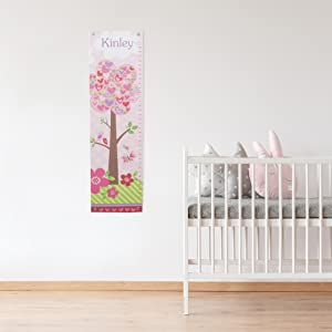 Amazon Com Personalized Growth Chart For Baby Girl Height Ruler Pink Nursery Décor Flowers And Hearts Baby
