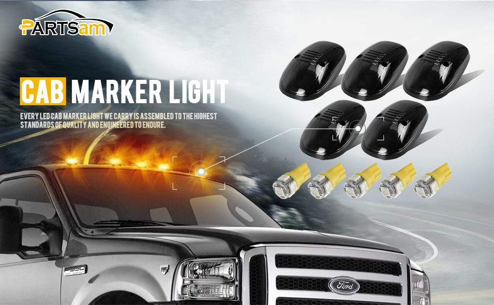 5X Pink-Purple T10 LED Bulbs Compatible with Dodge Ram 1500 2500 3500 1999 2000 2001 2002 Pickup Trucks Partsam 5X Smoke Cab Marker Roof Top Light 264145BK Assembly