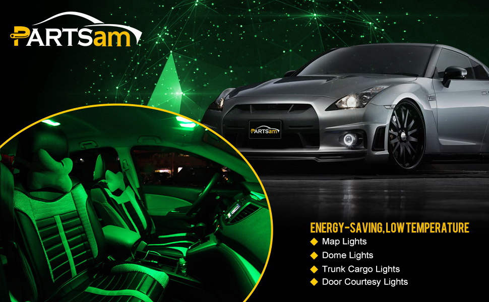 Amazon Com Partsam Green Car Led Lamps 42mm Festoon 12smd Interior