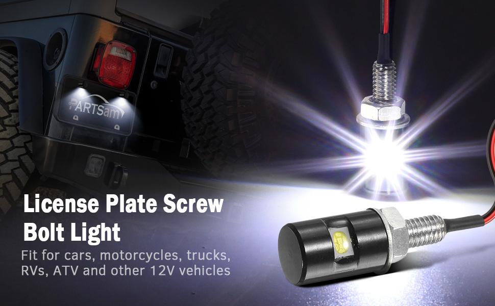 Auto Screw Bolt  12V Lamp 3 LED  License Number Plate Car Motorcycle Light