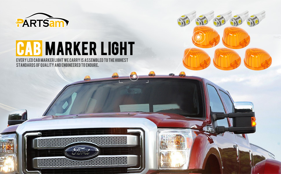 Red T10 LED Bulb Compatible with Chevy//GMC C1500 C2500 C3500 K1500 K2500 K3500 1969-1987 Pickup Trucks Dually Suburban Blazer Partsam 5X Cab Marker Round Light Smoke Lens 1313S