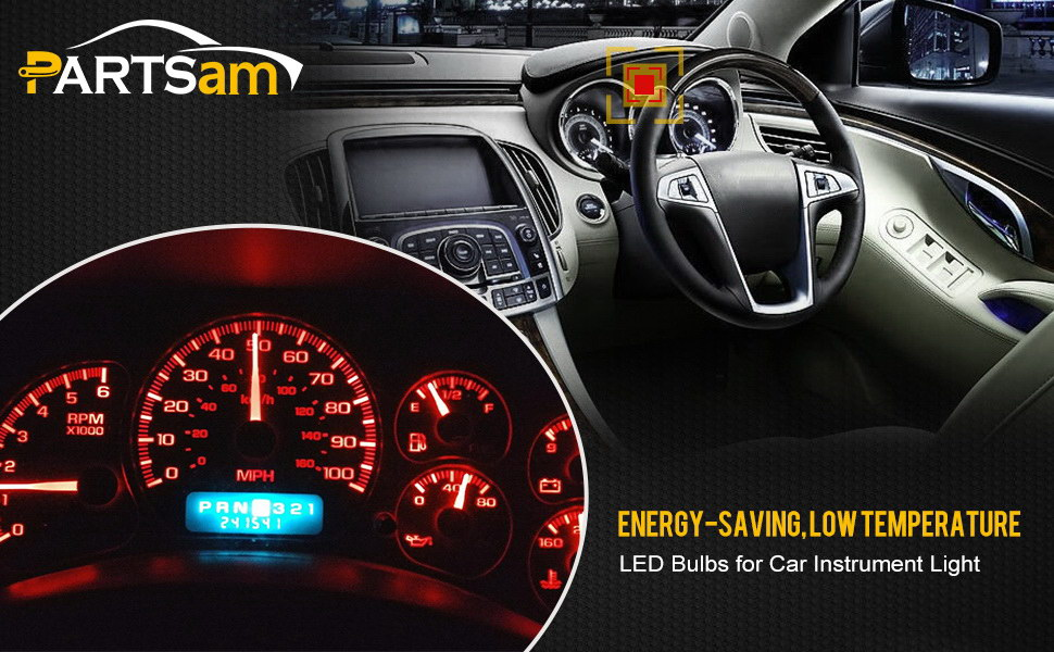 Partsam T10 194 LED Light bulb 168 LED Bulbs Bright Instrument Panel Gauge  Cluster Dashboard LED Light Bulbs Set 10 T10 LED Bulbs with 10 Twist Lock