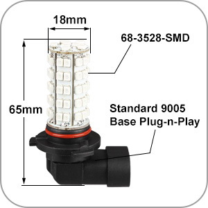 2x 9005 Blue 68-SMD LED Daytime Running Lights
