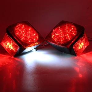 "2x LED Submersible Square Trailer Tail Light Under 80/"" Brake Boat Stud Mount New"