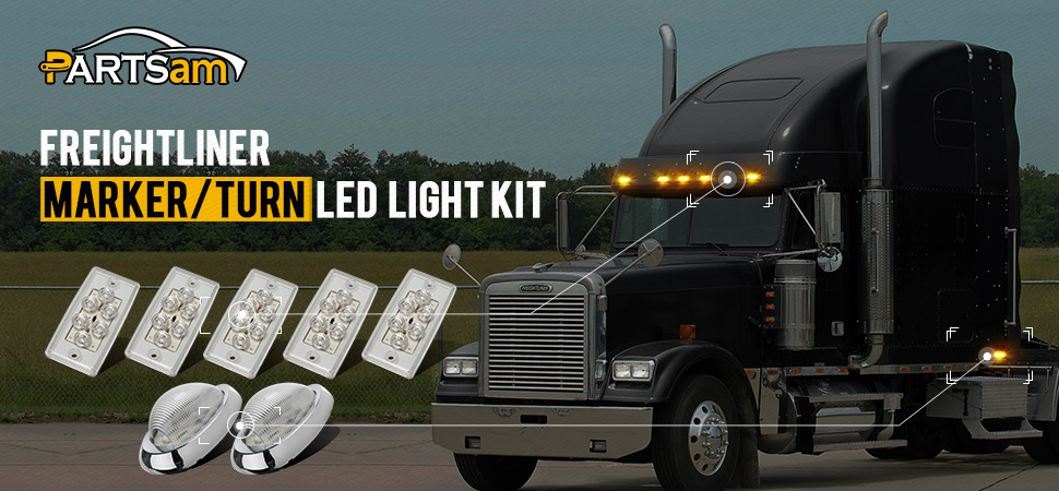 Partsam Replacement For Volvo Freightliner Century Columbia Led Lights Kit Clear 5X Rectangle Amber LED Cab Roof Top Marker Lights 2X 5 7 8 Teardrop