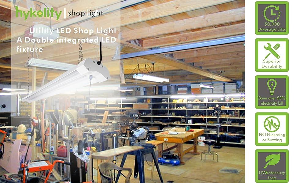 Hykolity Utility Led Shop Light 4ft Linkable 40 Watt 4800