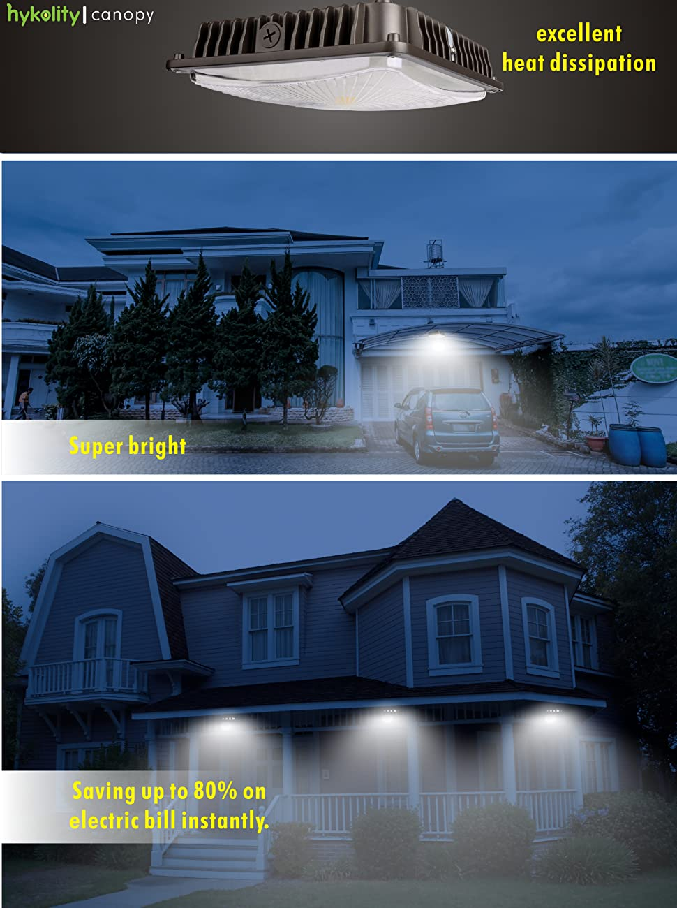 Hykolity 70w led canopy light commerical grade weatherproof to illuminate your carport quickly and easily with hykolity canopy light fixture led 70w canopy lights ceiling mount area light will provide efficient and arubaitofo Images