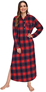 cotton plaid nightgowns for women