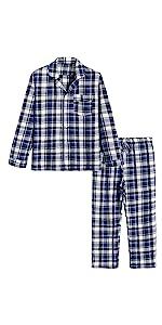 cotton plaid pajamas set for men