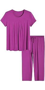 women pajamas short sleeves top capri pants set sleepwear bamboo viscose loungewear