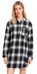 cotton plaid short nightgown for women