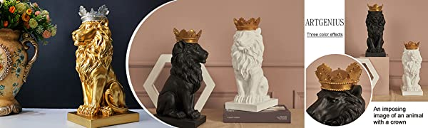 Artgenius 7.3IN Royal King Crown Lion Statue Magnetic Paper Clip Dispener,Paper Clip Holder,Office Desk Accessory with Magnet White