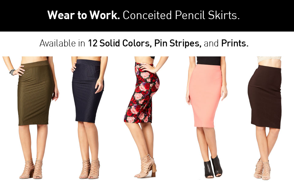 Red, 1X Xclusive Collection New Womens Plus Size Bodycon Jersey Pencil Midi Skirts
