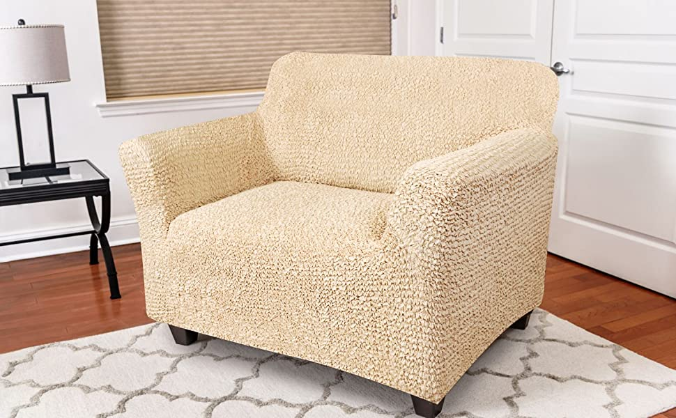 Chair Cover - Armchair Cover - Armchair Slipcover - Soft Polyester Fabric Slipcover - 1-piece Form Fit Stretch Stylish Furniture Protector - ...
