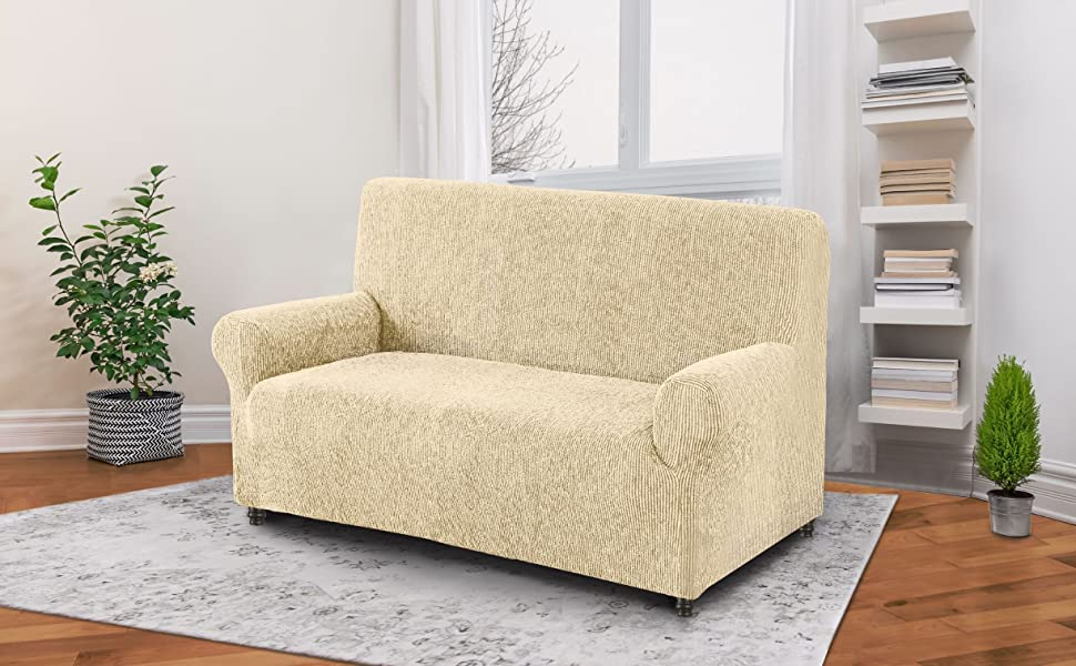 PAULATO BY GA.I.CO. Loveseat Cover - Loveseat Slipcovers - Loveseat Couch Covers - Cotton Fabric Slipcovers - 1-Piece Form Fit Stretch Stylish ...
