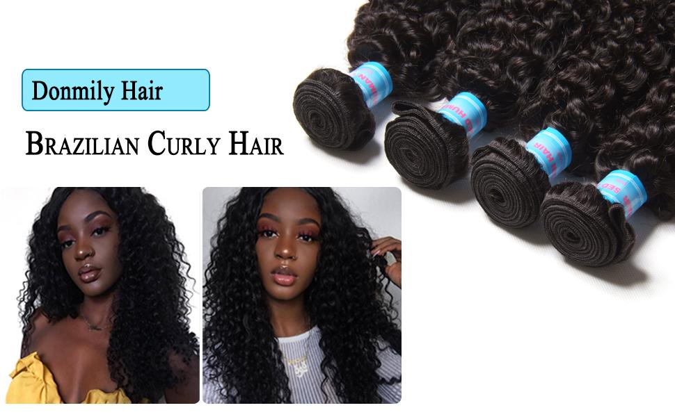 Amazon Donmily 10a Brazilian Virgin Curly Hair 4 Bundles Weave