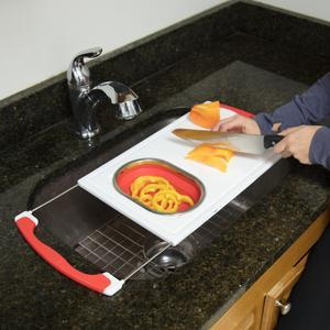Good Cooking Over the Sink Cutting Board and Colander Kitchen Tools
