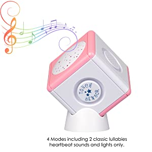 Lullaby Light Cube Night Light Portable Baby Soother and Star Projector in One w Touch Sensors - Blue