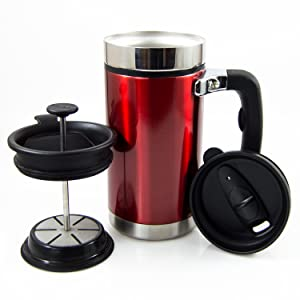 e8483384d56 Desk Press Coffee Travel Mug - French Press with Brü-Stop Technology - 2  Spill Proof Lids - 20oz - Candy Apple Red