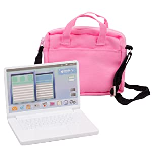 Metal Computer Laptop with Carrying Bag for American Girl and other 18 in dolls – Durable Metal Construction