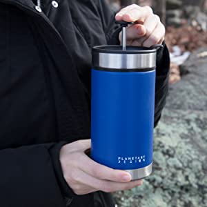 Amazon.com: Steel Toe French Press Coffee Travel Mug with Brü-Stop Technology - 20 oz - Stainless Steel with Non-Slip Texture - Mountain Lake Blue: Kitchen & Dining