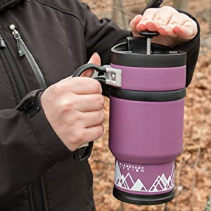 Amazon.com: Double Shot 3.0 French Press Travel Coffee Mug, 16 oz - Brü-Stop Technology with Storage Base and Spill Proof Lid - Stainless Steel with Non-Slip Texture - Wild Plum Purple: Kitchen & Dining