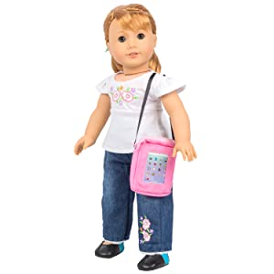American girl dolls, dolls, doll, dress along dolly, clothing, clothes, accessories, tablet