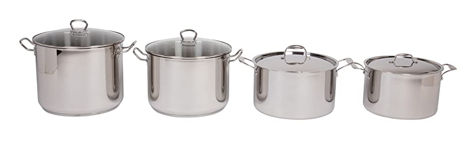 Stock Pot - Tri-ply 18/10 Professional Grade Induction Ready with Stainless Steel Lid and Stay Cool Handles (12 Quarts)