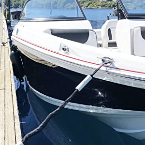 boating accessories, bungee mooring rope, bungee dockline with Boat full image