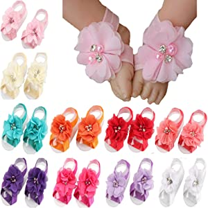 ce4d00c4fc1cc Toptim Baby Girl's Barefoot Sandals Flower for Toddlers (10 Mix Colors)