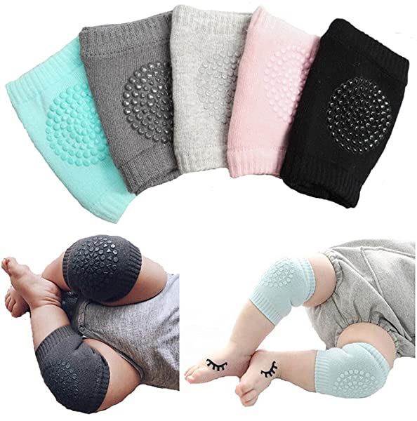 Baby Crawling Anti Slip Knee Pads Unisex Clothing Accessories Toddler Leg Warmer Safety Protective Cover Toddlers Learn to Socks Children Short Kneepads 5 Pairs-2