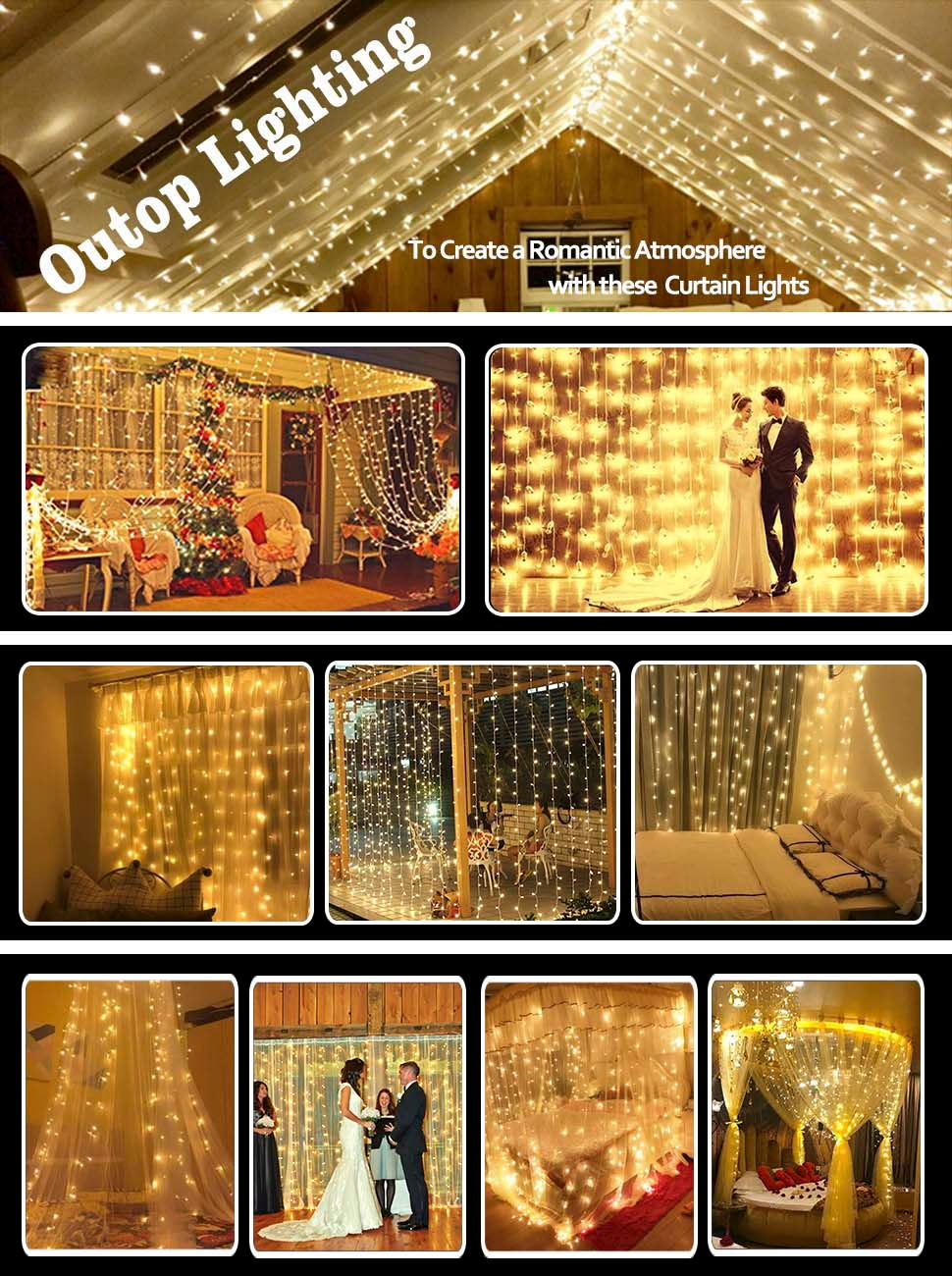 Amazon Outop Window Curtain Lights 304led 98ft 8 Modes Fairy