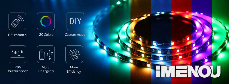 Amazon imenou battery powered led strip lights flexible best outdoor led strip lights aloadofball Images