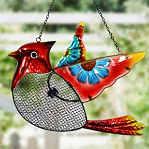 flying bird feeder cardinal