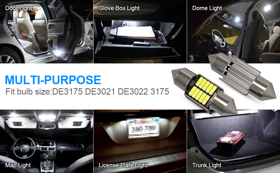License Plate Dome Map Door Courtesy Park Lights,Xenon Withe Interior Lights Non-polarity Super Bright 3-3030 Chipset,CAN-Bus error free KAFEEK 10x T10 Wedge 194 168 2825 W5W LED Bulbs