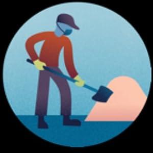 Worker shoveling