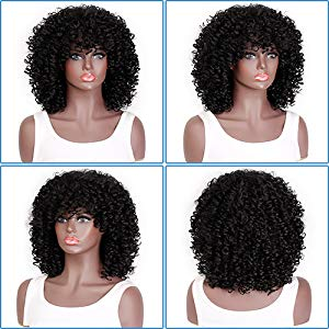 Amazon.com  AISI HAIR Curly Afro Wig with Bangs Shoulder Length Wig ... 724cb9dfd140