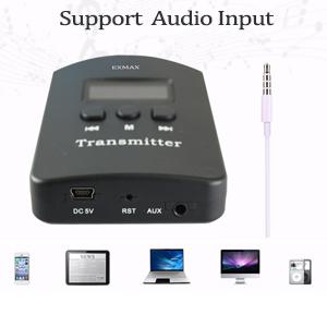Transmitter support audio input