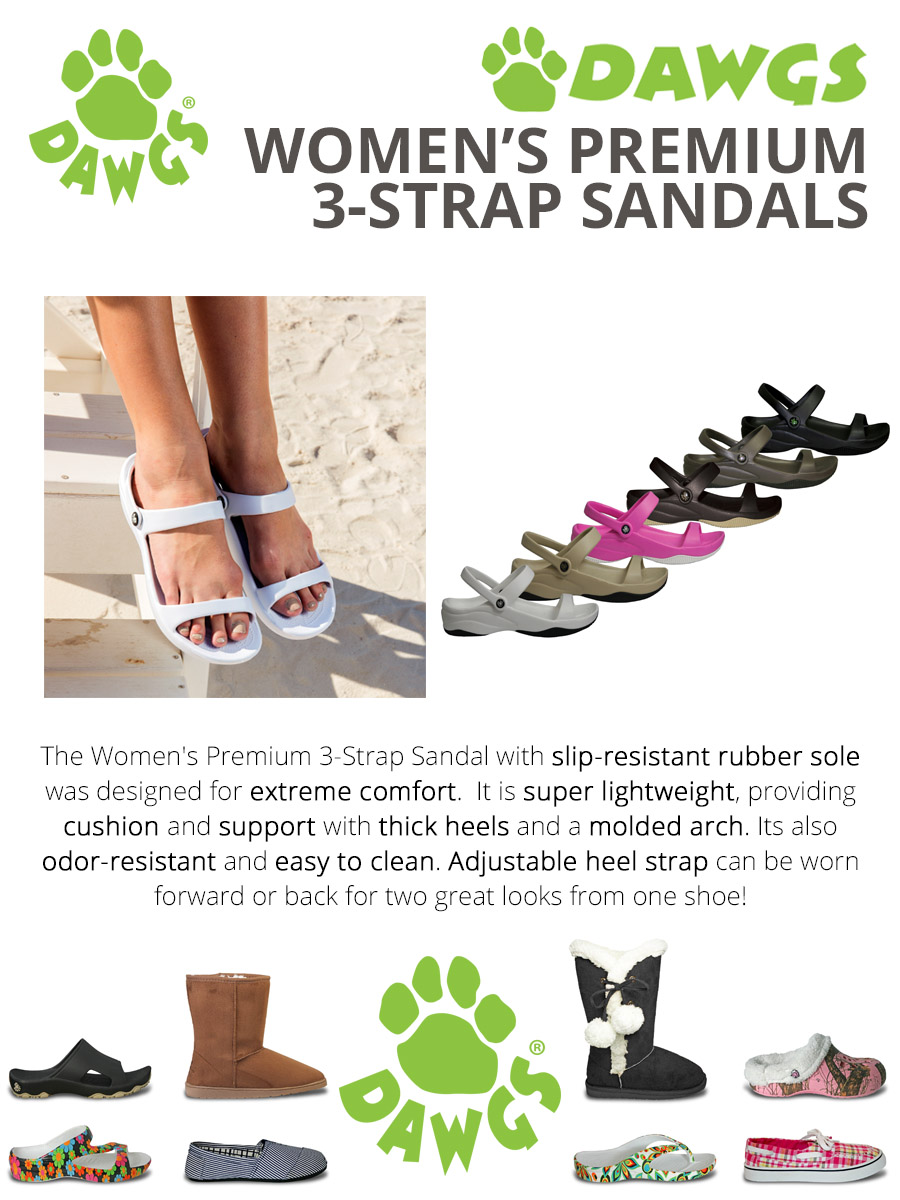 Toddlers Dawgs 3-Strap Sandals
