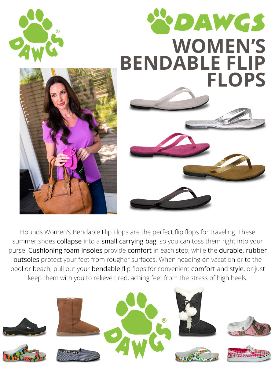 41d35bb96ce0c1 HoundsWomen s Bendable Flip Flops are the perfect flip flops for traveling.  These summer shoes collapse into a small carrying bag