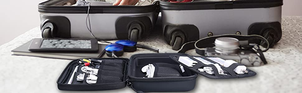 Electronic Cable Travel Organizer Grid Cable Inner Bag for USB Drive, SD Card, Cellphone,Power Bank