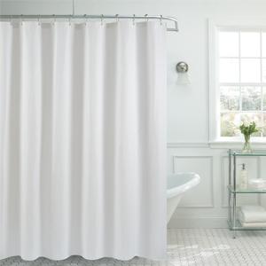Waffle weave fabric shower curtain