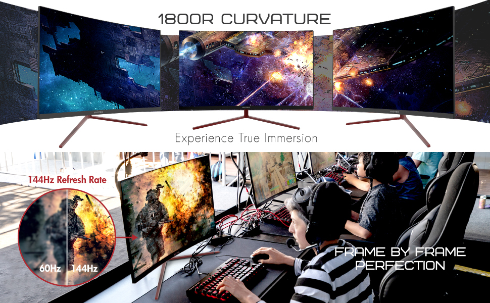 naturally comfortable 1800R curvature and 178° viewing angle