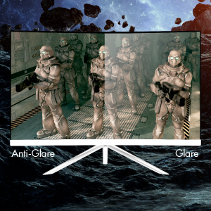 he  anti-glare  treated  VA  panel  significantly  reduces  on-screen  light  reflections