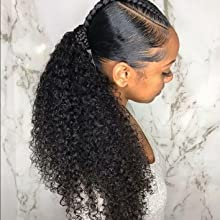Human Hair Kinky Curly Ponytail For Black Women Natural Color