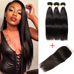 bundles with closure human hair 3 bundles with lace closure straight human hair extensions
