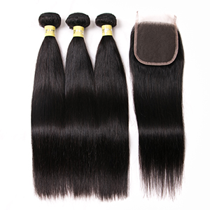 100% Unprocessed Virgin Brazilian Straight Human Hair Bundles with Closure