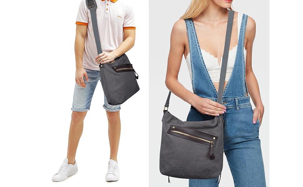 2db100ff93b6 COOFIT Women Bags Canvas Bag Crossbody Bag Shoulder Bag Messenger Purse  Both for Men and Women
