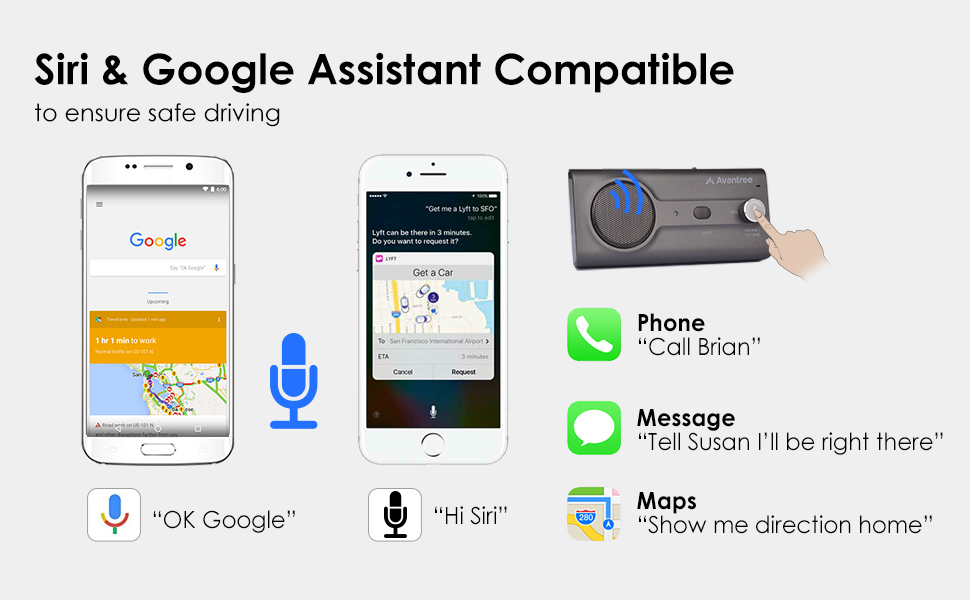 bluetooth handsfree car kit with siri google assistant support