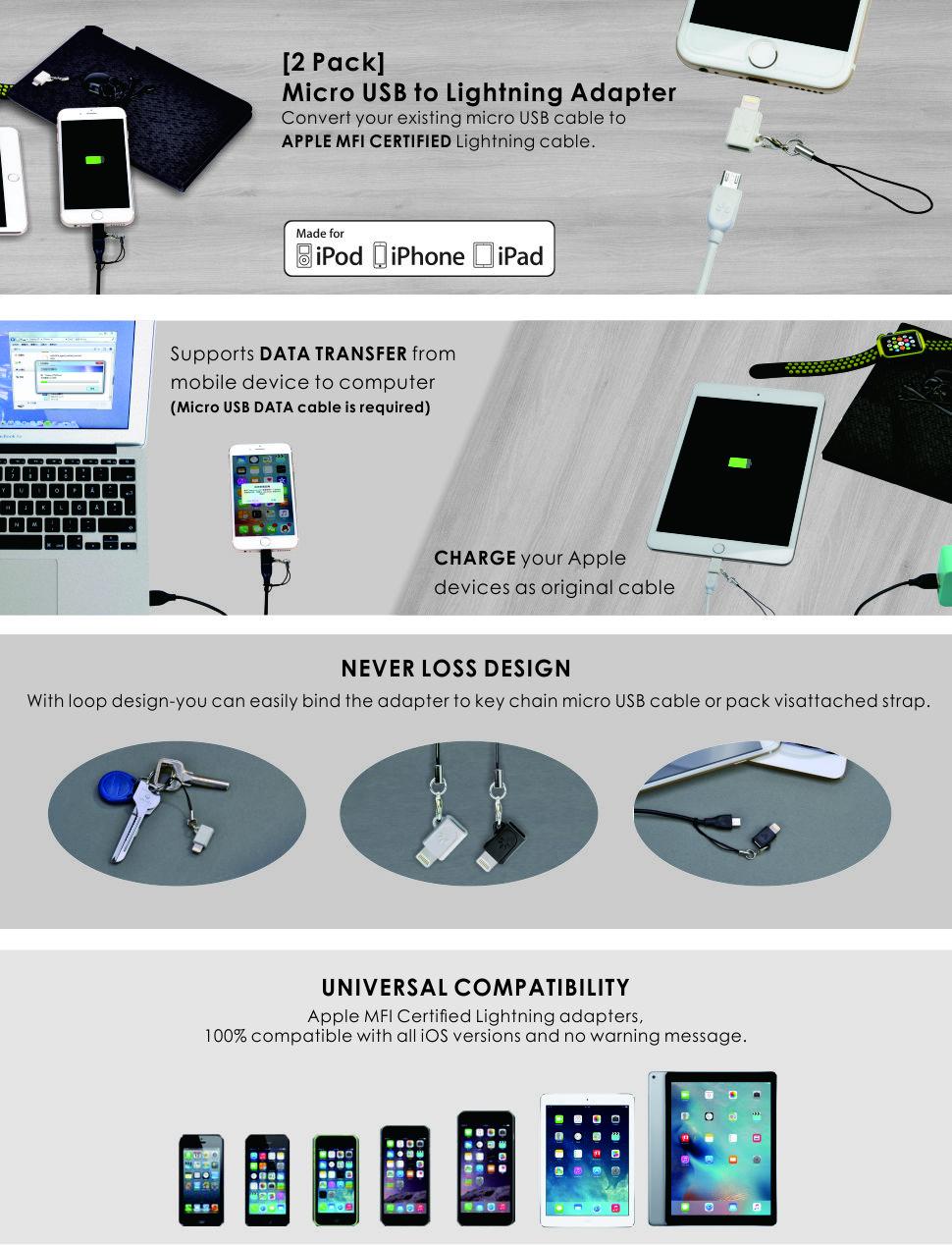 Amazon.com: [Apple MFi Certified] Avantree 2 Pack Micro USB to 8 Pin ...